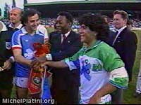 Michel Platini with Pele and Maradona