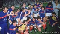 Michel Platini team celebration